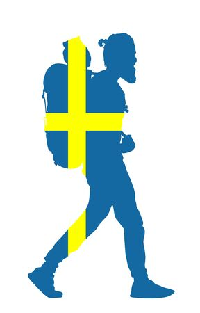Sweden flag over passenger man with backpack vector silhouette illustration. Traveler boy with luggage go home, carry baggage. Tourist with heavy bag cargo load waiting taxi to airport, after holiday.