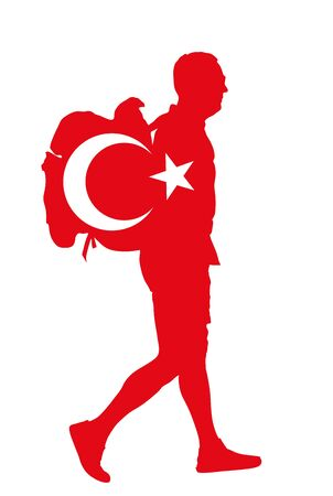 Turkish flag over passenger man with backpack vector silhouette illustration. Traveler boy with luggage go home, carry baggage. Tourist with heavy bag cargo load waiting taxi to airport, after holiday Иллюстрация