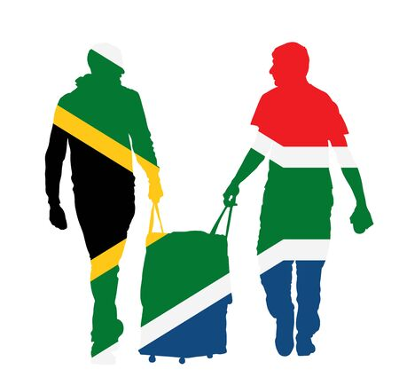 South Africa flag over passenger man with rolling suitcase walking to airport vector isolated. Traveler boys carry baggage. Tourists with bag. Luggage cargo load. Boys travel to holiday trip Иллюстрация