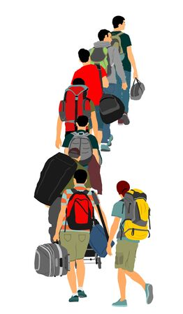 Passengers with luggage walking at airport vector illustration. Traveler with backpack bags. Man carry baggage. People crowd waiting in line with cargo load, taxi to holiday. Border refugees hiking. Иллюстрация
