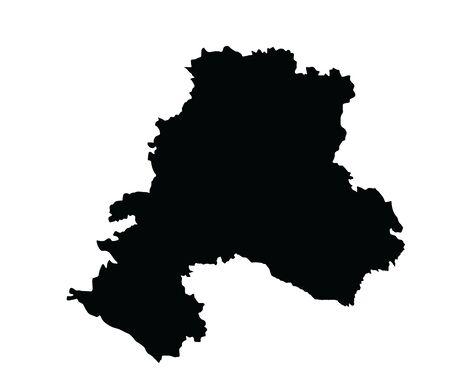 Southern Federal District map Russia, vector silhouette illustration isolated on white. Republic of Adygea, Astrakhan oblast, Volgograd oblast, Kalmykia, Krasnodar krai, Crimea, Rostov, Sevastopol.