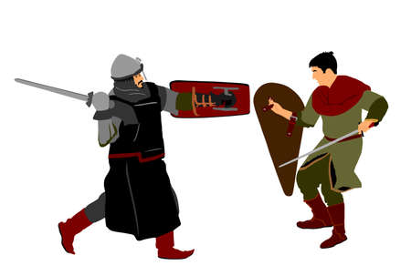 Knights in armor with sword fight vector isolated on white. Medieval fighter in battle. Hero protects castle walls. Armed man defend honor of family and people. Protect country against enemy