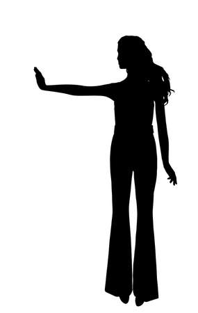 Ill woman warns people around her to keep distance, epidemic prevention vector silhouette isolated on white. Girl stretched out hand with stop gesture avoid communication. Health care against corona