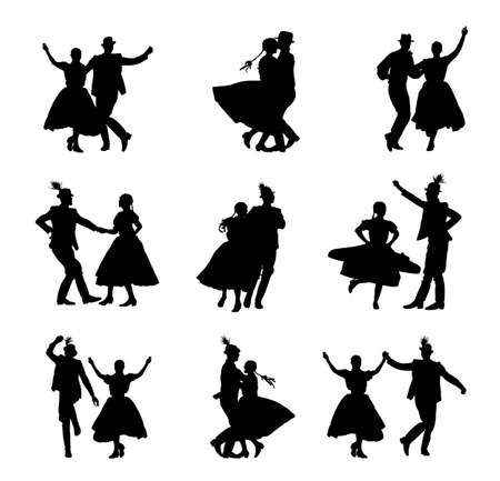 Hungarian csardas folk dancers couple in love vector silhouette. Germany folklore October fest actors. Austrian traditional wedding culture from East Europe. Balkan dancing. Woman and man festival. Ilustração
