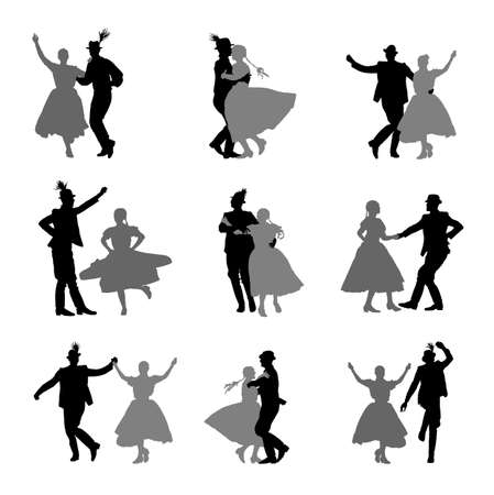 Hungarian csardas folk dancers couple in love vector silhouette. Germany folklore October fest actors. Austrian traditional wedding culture from East Europe. Balkan dancing. Woman and man festival. Иллюстрация