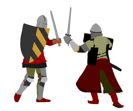 Knights in armor with sword fight vector isolated on white. Medieval fighter in battle. Hero protects castle walls. Armed man defend honor of family and people. Protect country against enemy Фото со стока - 155278817