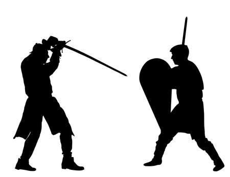 Knights in armor with sword fight vector silhouette isolated on white. Medieval fighter in battle. Hero protects castle walls. Armed man defend honor of family and people. Protect country against en Фото со стока - 155278818