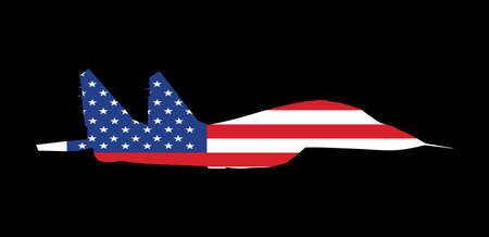 Jet fighter vector silhouette isolated on black background. Military plane with United States of America flag symbol. Aircraft with missile on duty patrol. USA flag over plane, national pride symbol. Фото со стока - 155278819