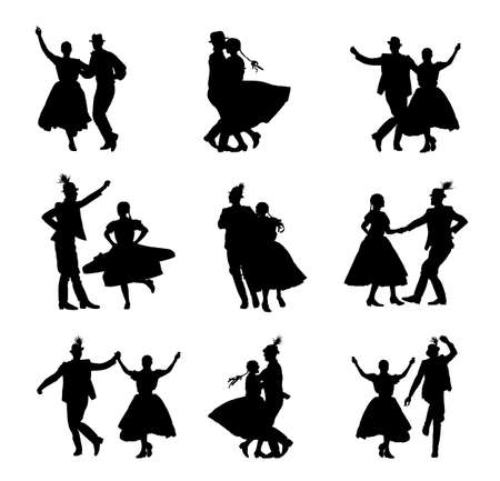 Hungarian csardas folk dancers couple in love vector silhouette. Germany folklore October fest actors. Austrian traditional wedding culture from East Europe. Balkan dancing. Woman and man festival. Фото со стока - 155278822