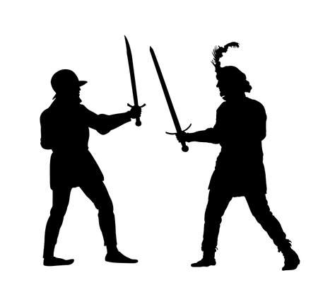 Knights in armor with sword fight vector silhouette isolated on white. Medieval fighter in battle. Hero protects castle walls. Armed man defend honor of family and people. Protect country against en