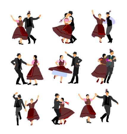 Hungarian csardas folk dancer couples in love, vector illustration. German folklore Oktoberfest actors. Austrian traditional wedding culture from East Europe. Balkan dancing. Woman and man festival.