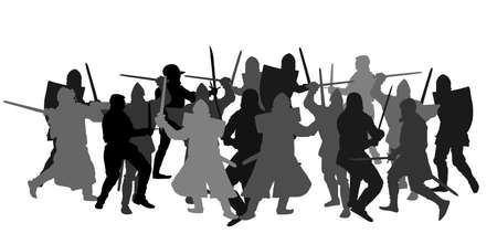 Knights in armor with sword fight vector silhouette isolated on white. Medieval fighters in battle. Hero protects castle walls. Armed man defend honor of family people. Protect country against enemy.