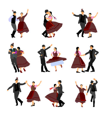Hungarian csardas folk dancer couples in love, vector illustration. German folklore Oktoberfest actors. Austrian traditional wedding culture from East Europe. Balkan dancing. Woman and man festival.