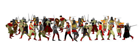 Knights in armor with sword fight vector illustration isolated on white. Medieval fighters in battle. Hero protects castle walls. Armed man defend honor of family people. Protect country against enemy Фото со стока - 155278826