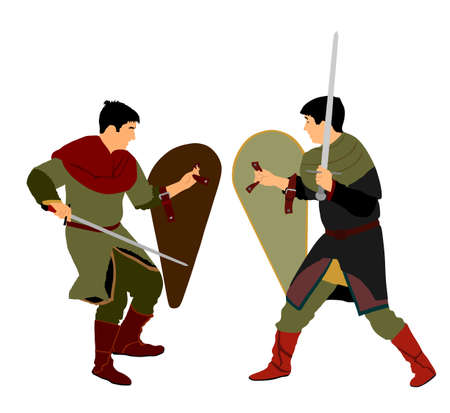 Knights in armor with sword fight vector isolated on white. Medieval fighter in battle. Hero protects castle walls. Armed man defend honor of family and people. Protect country against enemy Иллюстрация