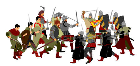 Knights in armor with sword fight vector illustration isolated on white. Medieval fighters in battle. Hero protects castle walls. Armed man defend honor of family people. Protect country against enemy