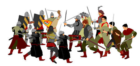 Knights in armor with sword fight vector illustration isolated on white. Medieval fighters in battle. Hero protects castle walls. Armed man defend honor of family people. Protect country against enemy Иллюстрация