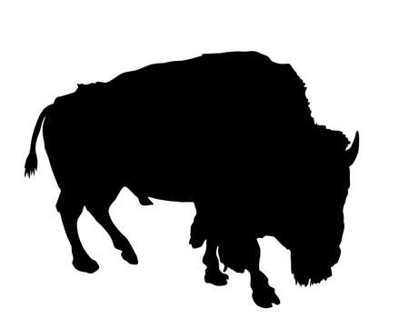 Bison vector silhouette isolated on white background. Portrait of Buffalo male, symbol of America. Strong animal, Indian culture.