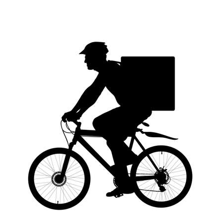 Online delivery service, man riding bicycle vector silhouette isolated on white background. Courier with food backpack go to customer. Fast food urban transportation in warm bag on back. Bike driver.