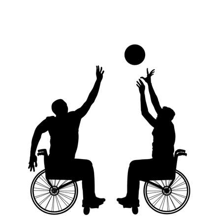 Basketball players in wheelchair vector silhouette isolated. Disabled sportsman competition. Recovery injured man sport activity play basket. Invalid person active life. Health care physical treatment