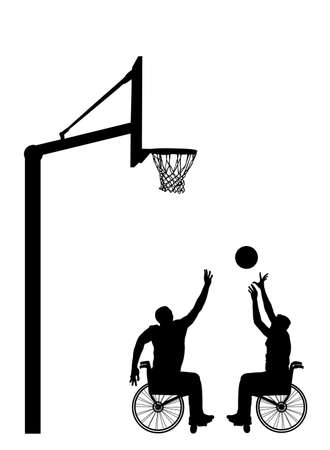 Basketball players in wheelchair vector silhouette isolated. Disabled sportsman competition. Recovery injured man sport activity play basket. Invalid person active life. Health care physical treatment Фото со стока - 155278834