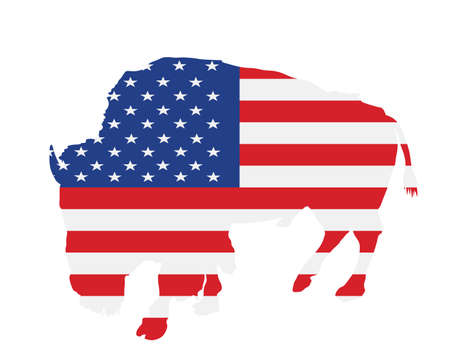 United States of America flag over bison vector isolated. USA flag over buffalo, national symbol, pride and power animal. Иллюстрация