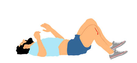 Man with injured bleeding leg lying down on the ground vector. Traffic accident patient after car crush needs medic help. First aid rescue victim. Sport boy needs doctor emergency after injury fall.