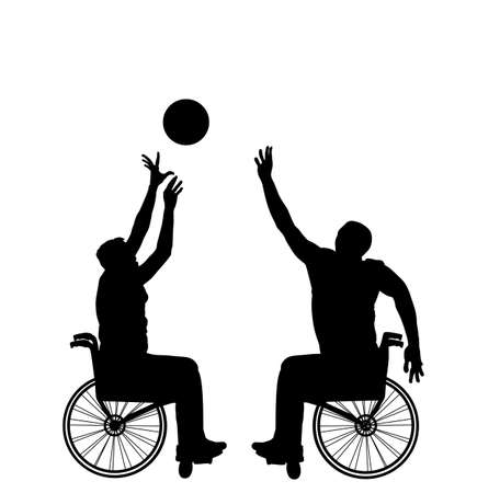 Basketball players in wheelchair vector silhouette isolated. Disabled sportsman competition. Recovery injured man sport activity play basket. Invalid person active life. Health care physical treatment Фото со стока - 155413389