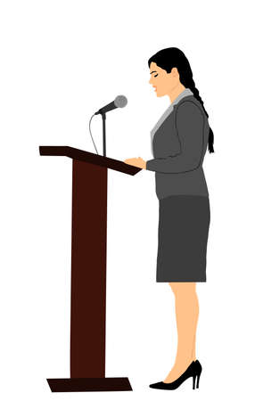 Elegant politician woman opening meeting election campaign vector isolated on white. Ceremony vote event. Public speaker standing on podium.  Business lady speaking to public. Talking on microphone
