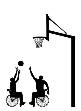 Basketball players in wheelchair vector silhouette isolated. Disabled sportsman competition. Recovery injured man sport activity play basket. Invalid person active life. Health care physical treatment Иллюстрация