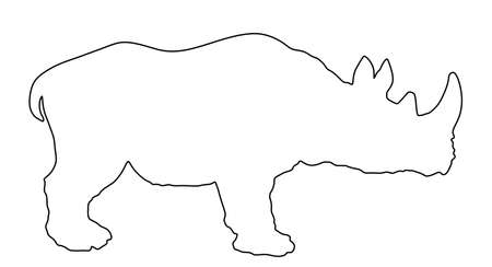 Rhinoceros line contour vector silhouette illustration isolated on white background. Rhino silhouette. Animal from Africa.