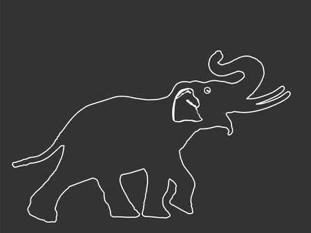 Elephant line contour vector illustration isolated on black background. Elephant male vector. African animal, alert of poacher. Safari attraction.