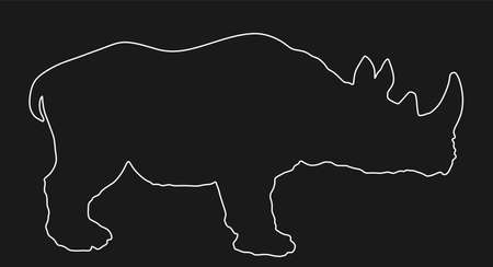 Rhinoceros line contour vector silhouette illustration isolated on black background. Rhino silhouette. Animal from Africa.