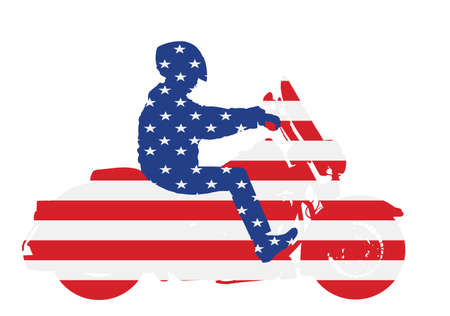 United States of America flag over biker driving a motorcycle rides on asphalt vector silhouette illustration. Freedom activity. Road travel by bike. Man on motorcycle with helmet. Boy motorbike rider