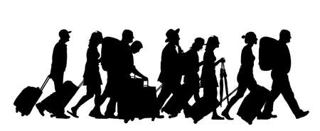 Passengers with luggage walking at airport vector silhouette. Travelers with bags go home. Man and woman carry baggage. People crowd with heavy cargo load waiting taxi after holiday Refugees on border Vektoros illusztráció