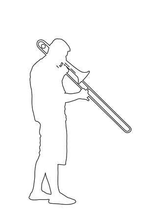 Trombone player line contour vector illustration. Music man play wind instrument silhouette. Music artist boy. Jazz man. Bugler street performer. Musician play trumpet. Entertainment music event.
