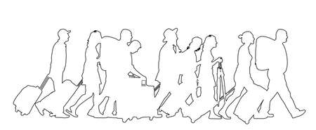 Passengers with luggage walking at airport vector line contour silhouette. Travelers with bags go home. Man and woman carry baggage. People crowd with cargo load after holiday Refugees on border. 向量圖像