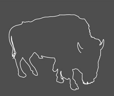 Bison line contour vector illustration isolated on black background. Portrait of Buffalo male, symbol of America. Strong animal, Indian culture.