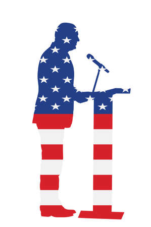 United States of America flag over Politician man on meeting election campaign vector isolated. Ceremony vote event. Public speaker on podium.  Businessman speaking to public. Talking on microphone 向量圖像