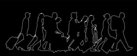 Passengers with luggage walking at airport vector line contour silhouette. Travelers with bags go home. Man and woman carry baggage. People crowd with cargo load after holiday Refugees on border. Illusztráció