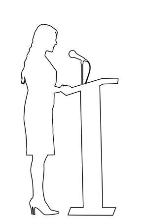 Elegant politician woman opening meeting election campaign vector contour line on white. Ceremony vote event. Public speaker standing on podium.  Business lady speaking to public talking on microphone Фото со стока - 153019370