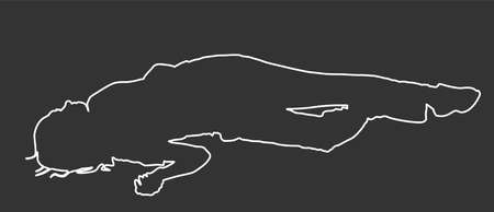 Dead girl lying down vector line contour silhouette. Drunk girl unconscious after party. Patient women rescue. Drugged person overdose. Sick teenager. Injured lady after car crush accident. First aid.