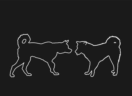 Siberian Husky dog couple in love, vector line contour silhouette illustration. Akita Inu breed. Beware of purebred, dog show champion. Alert, guard attention. Lovely pet, family best friend. Vector Illustration