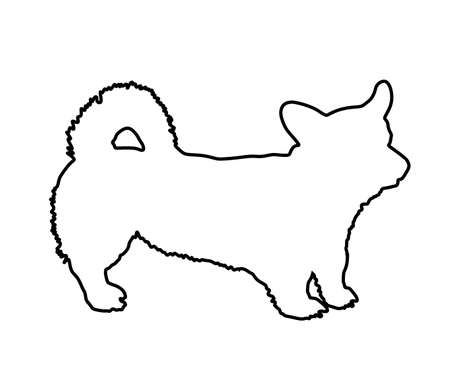 Welsh corgi Cardigan dog line vector contour illustration isolated. Beware of dog. man's best friend. Lovely pet.