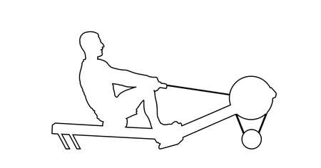 Sport man doing Seated Cable Row in gym vector line contour silhouette illustration. Low cable pulley row seated. Fitness instructor, personal trainer exercise on simulator gym machine. Health care.