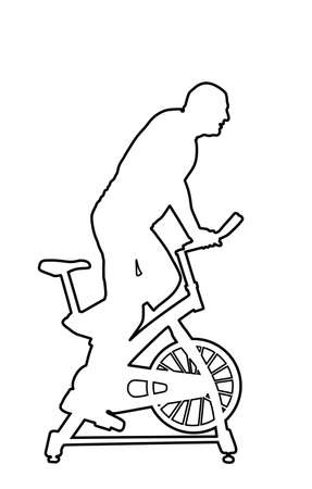 Man work out on exercise bike vector line contour. Biking in gym cardio training. Indoor cycling worming up. Sport boy losing weight. Fitness instructor. Personal trainer riding stationary bike