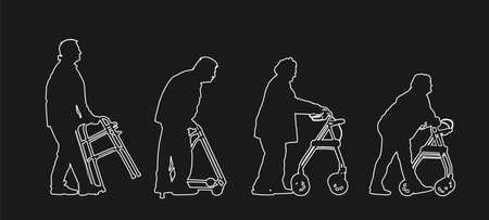 Old disabled people using strolls walker vector line silhouette. Mature invalid lady. Senior woman in nursing home. Old injured man active life with medical support. Help assist tool health care.