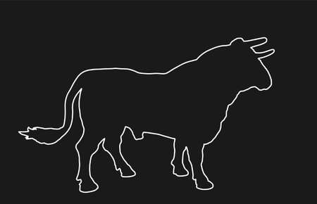 Standing adult bull vector line contour silhouette isolated on black. Breeding bull.  quality genetic material for insemination. Organic food.  Strong animal for bull fighting Spain corrida Ilustração