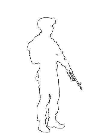 Army soldier with sniper rifle on duty vector line contour silhouette. Soldier keeps watch on guard. Ranger on border.