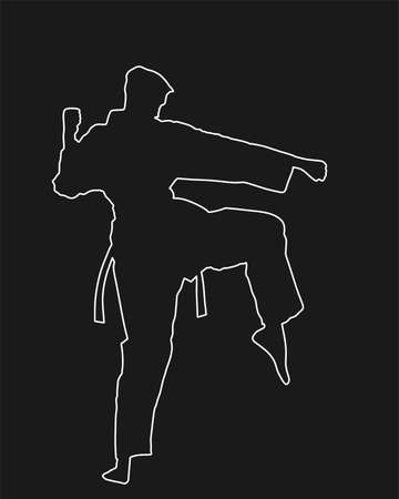 Karate man fighter in kimono vector line contour silhouette. Japan traditional martial art. Boy self defense presentation. Protect yourself against aggressor. Sport discipline Stock Illustratie